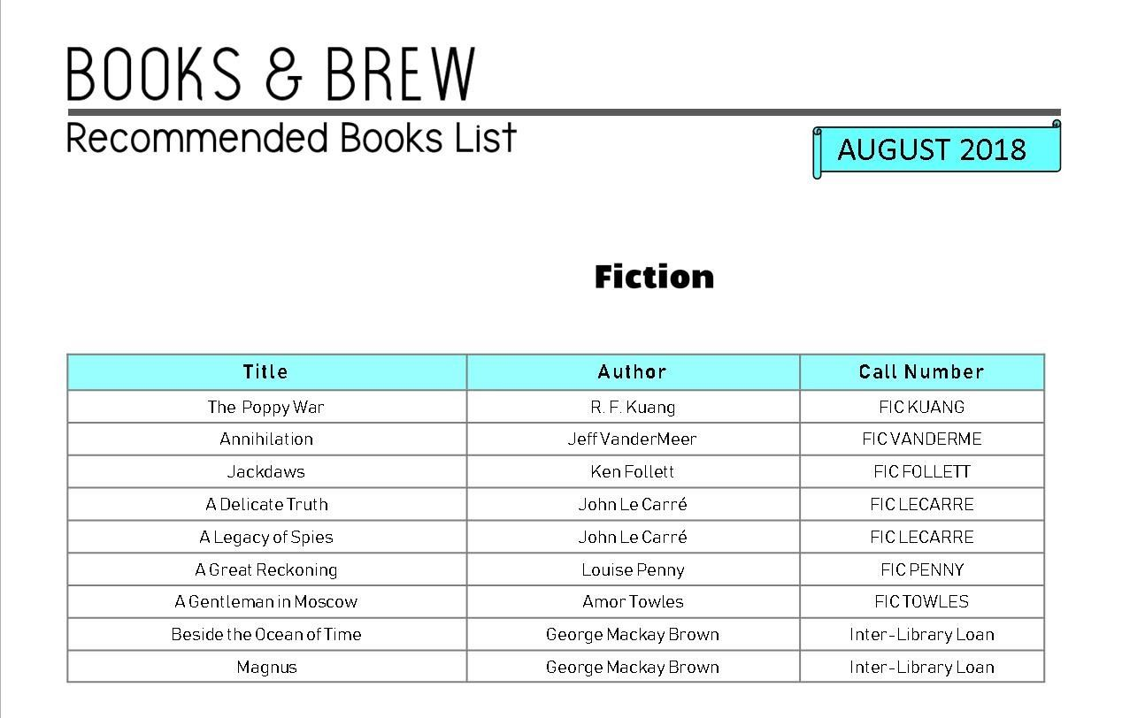 Books & Brew Book Club August List