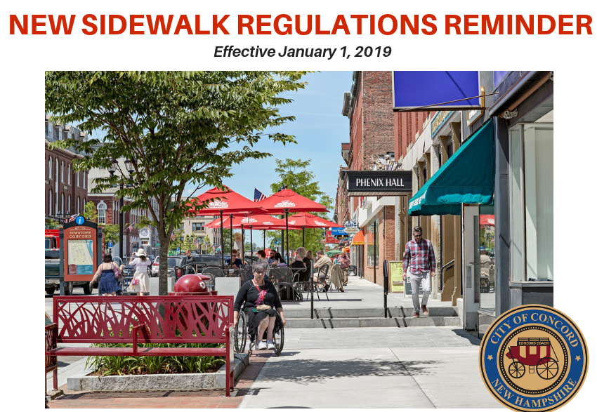 Sidewalk regulations reminder