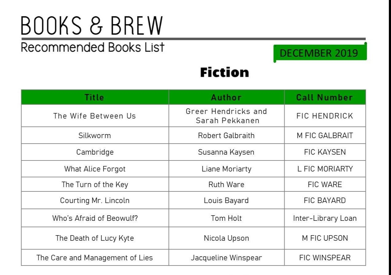 Books and Brew Book List December 2019