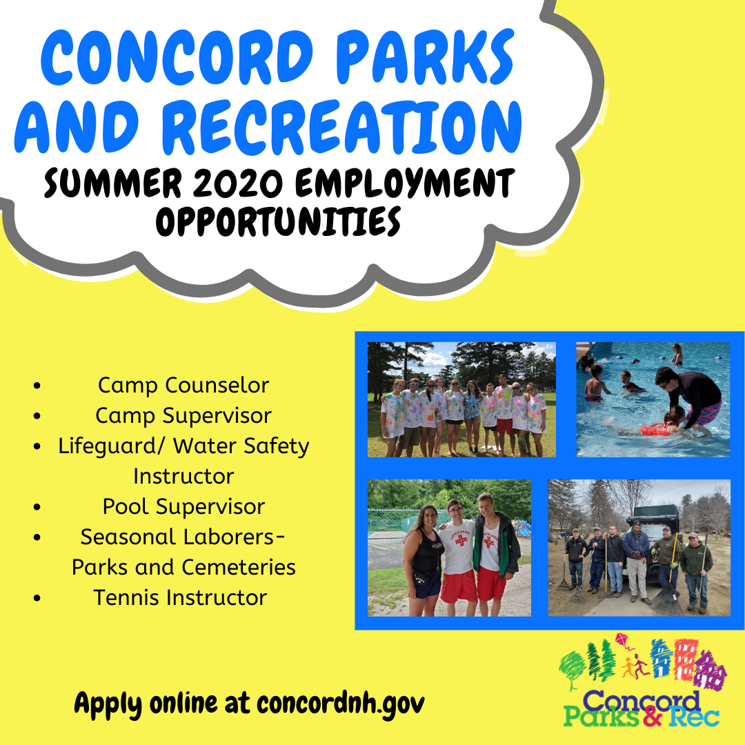 Concord Parks and Recreation Summer 2020 Employment Opportunities