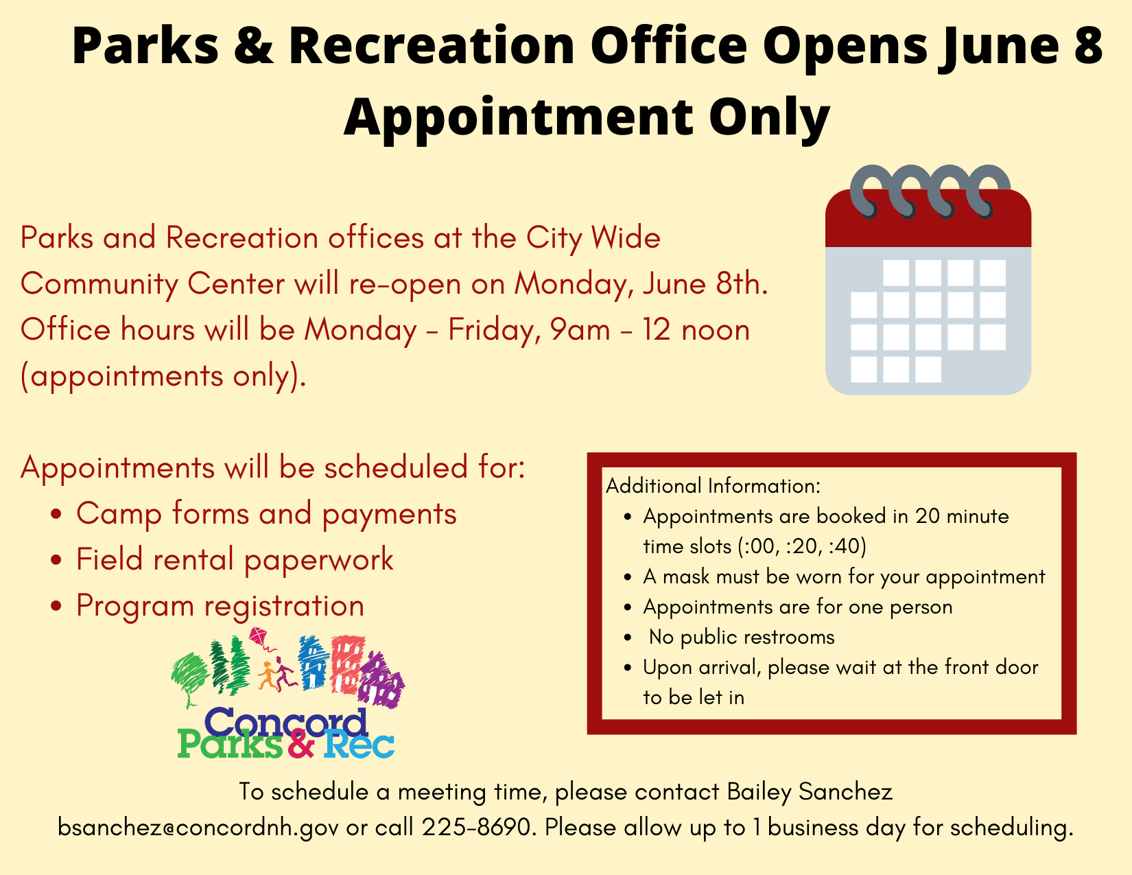 Parks and Recreation Office Opens June 8 Appointment Only