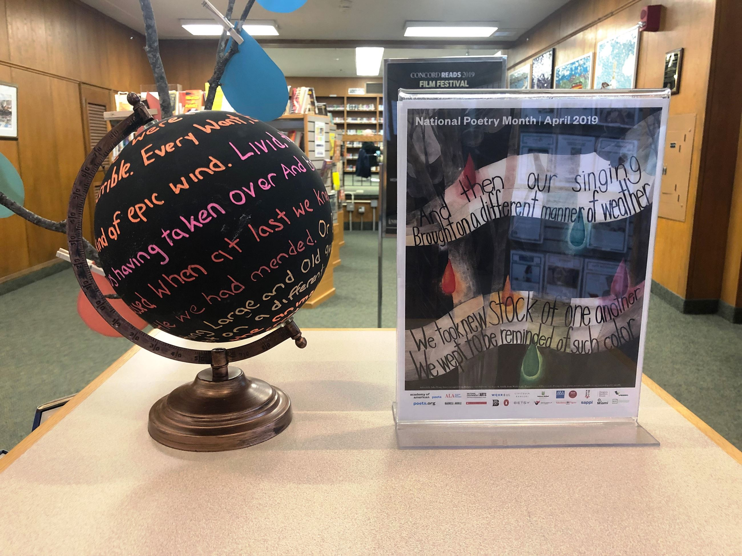 Poetry Month Display Globe Closeup