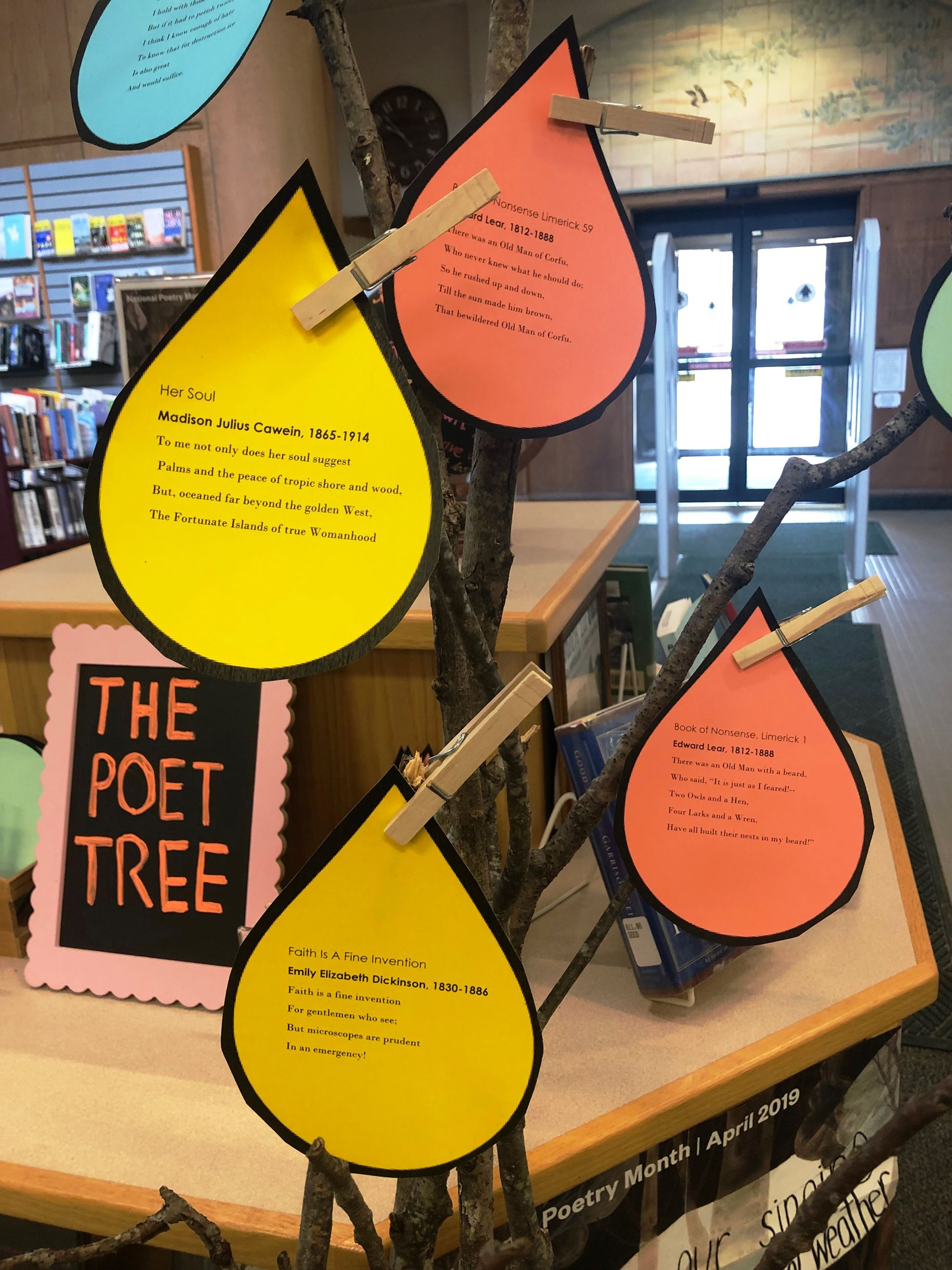 Poetry Month Display Poet Tree Leaves Closeup