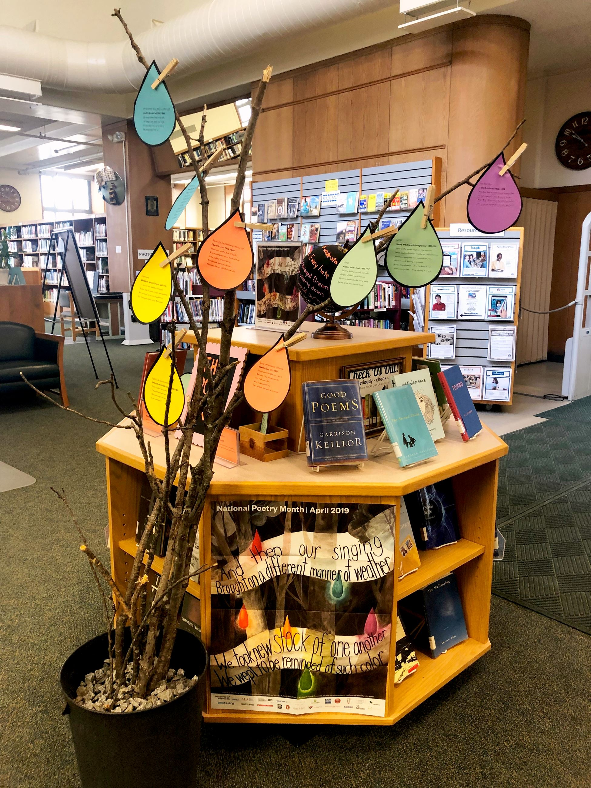Poetry Month Display with Poet Tree