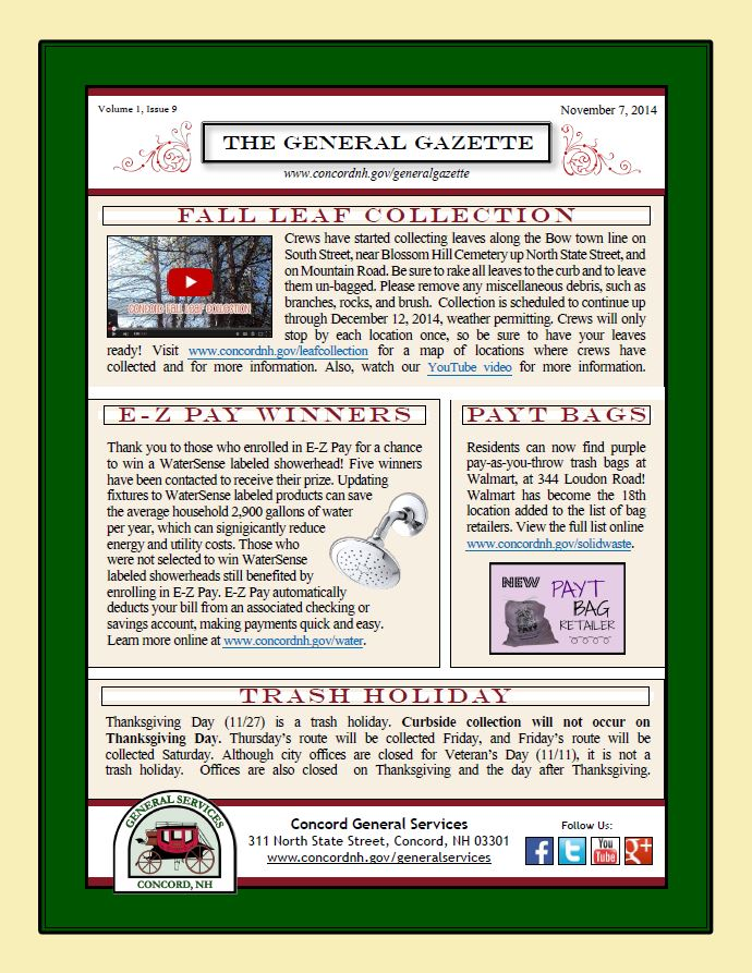 General Gazette General Services Newsletter