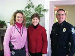 Senator Shaheen with Chief Duval and Off. Spaulding