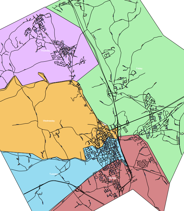 City of Concord Trash Collection Route Map