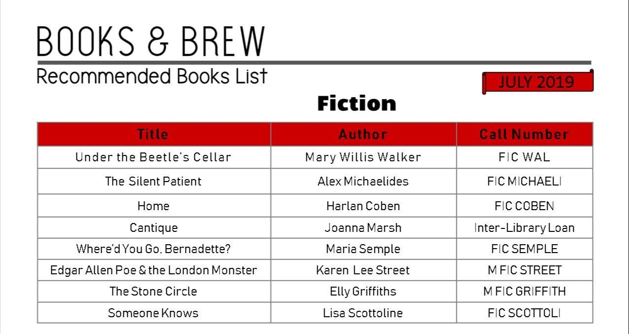 Books and Brew Book List July 2019