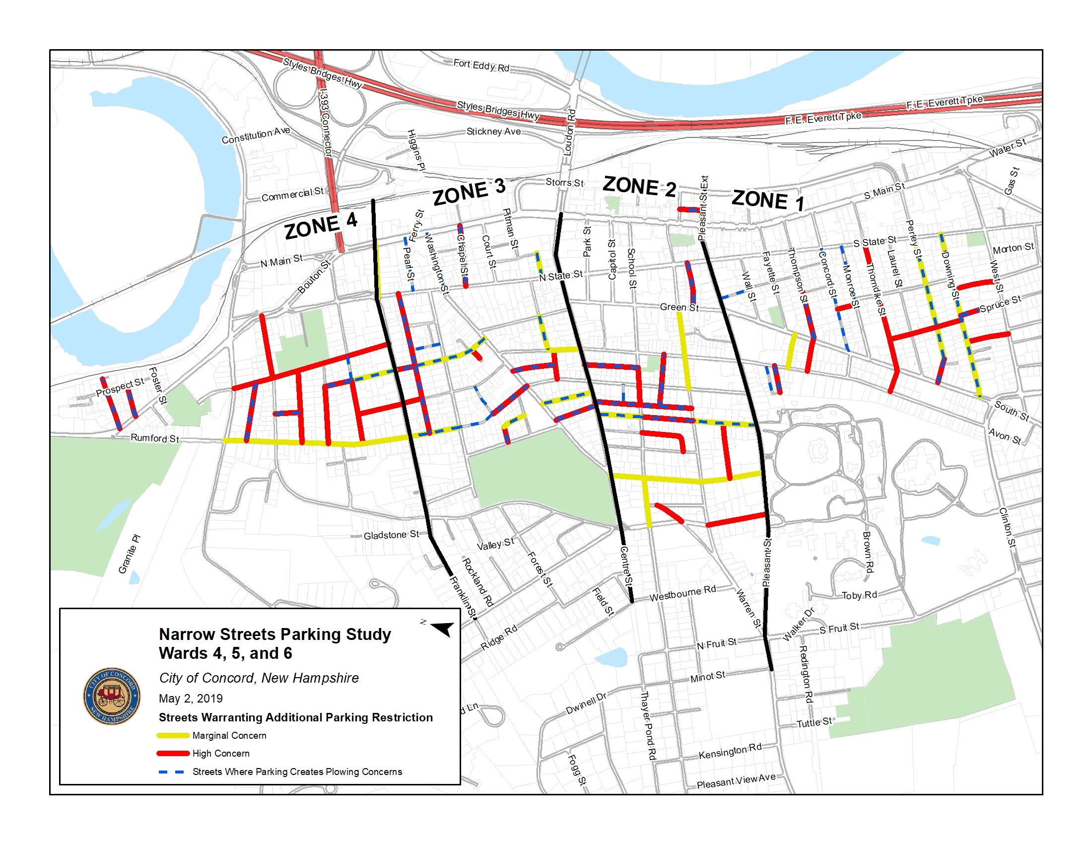 Map of Narrow Streets of Concern by Zone Opens in new window